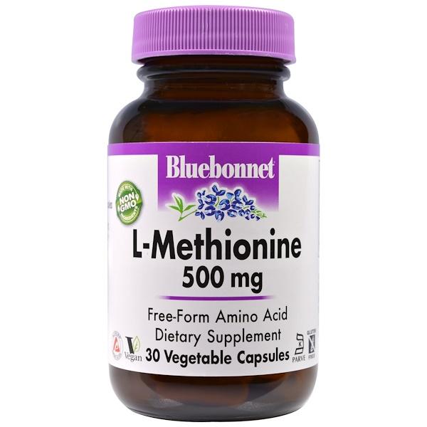 Bluebonnet Nutrition, L-метионин, 500 мг, 30 капсул в растительной оболочке (Discontinued Item)