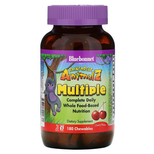Rainforest Animalz, препарат полного спектра для ежедневного приема, мультивитамин со вкусом вишни, 180 жевательных таблеток