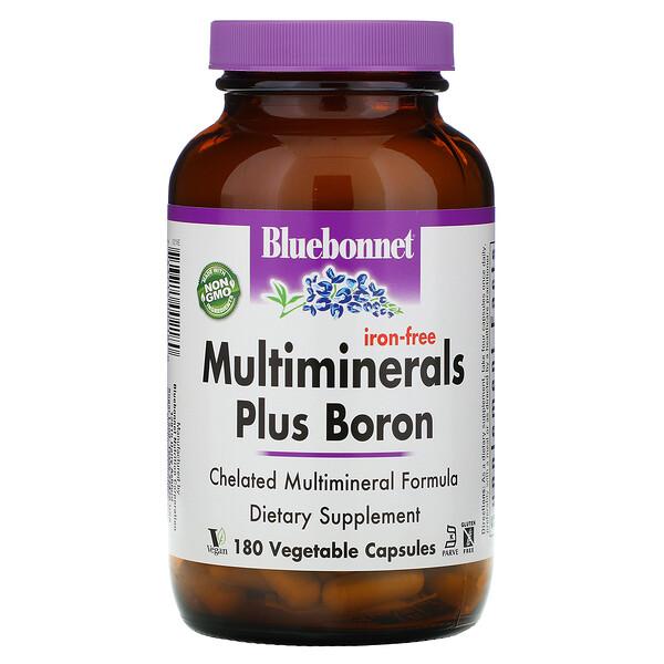 Bluebonnet Nutrition, Мультиминералы с бором, без железа, 180растительных капсул