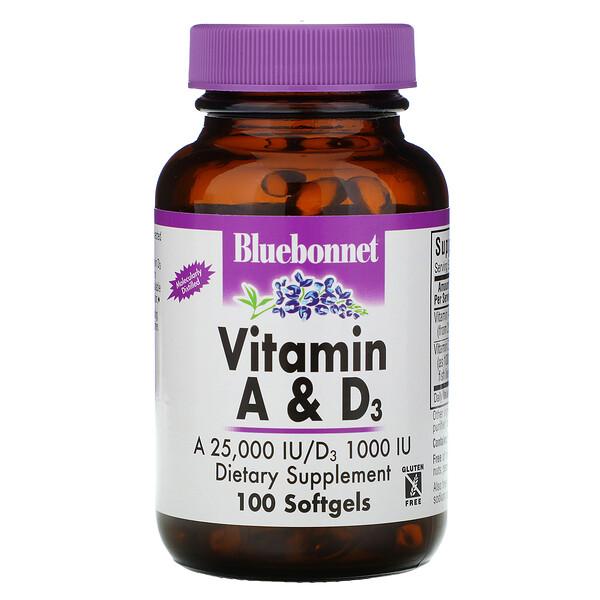 Bluebonnet Nutrition, Витамины A и D3, 100 гелевых капсул