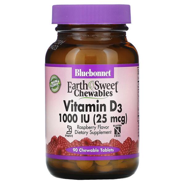 Earth Sweet Chewables, витаминD3, малина, 1000МЕ (25мкг), 90жевательных таблеток