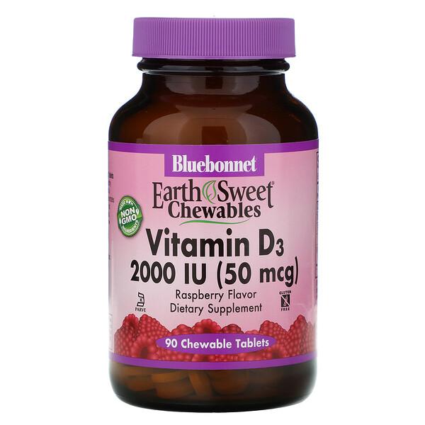 EarthSweet, витамин D3, натуральный клубничный ароматизатор, 2,000 МЕ, 90 жевательных таблеток