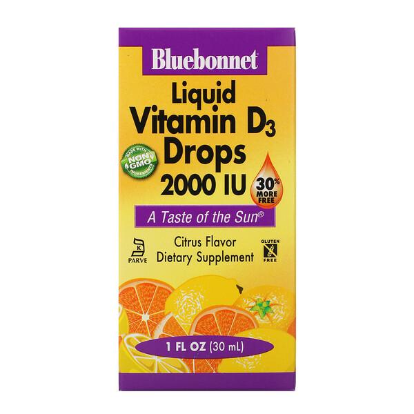 Жидкий витамин D3 в каплях с натуральным цитрусовым вкусом, 2000 МЕ, 30 мл (1 жидкая унция)