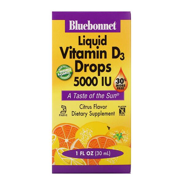 Bluebonnet Nutrition, капли витамина D3, с натуральным цитрусовым вкусом, 5000 МЕ, 30 мл (1 жидкая унция)