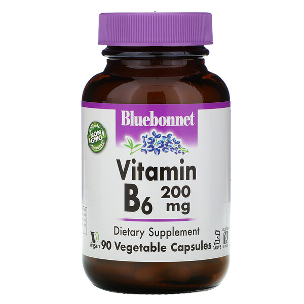 Vitamin B-6, 200 mg, 90 Vegetable Capsules