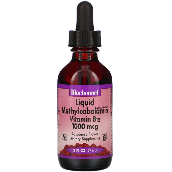 Bluebonnet Nutrition, Liquid CelluarActive Methylcobalamin Vitamin B12, Raspberry Flavor, 1,000 mcg, 2 fl oz (59 ml)