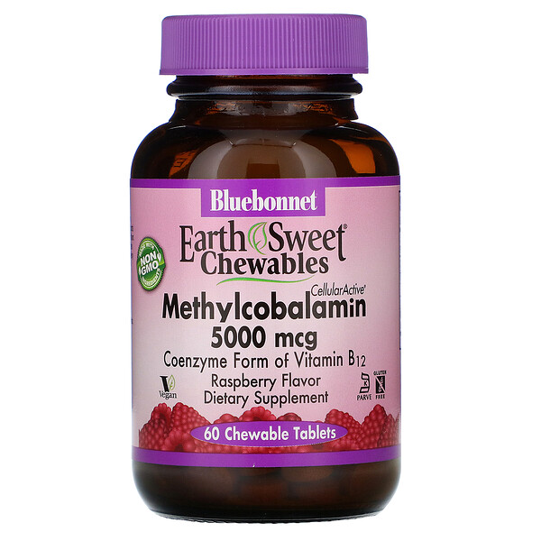 Bluebonnet Nutrition, EarthSweet Chewables, CellularActive Methylcobalamin, Raspberry Flavor, 5,000 mcg, 60 Chewable Tablets