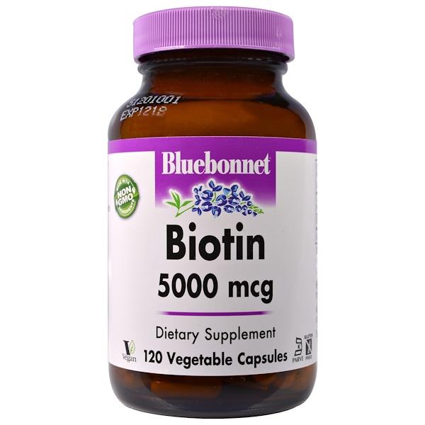 Bluebonnet Nutrition, Биотин, 5000 мкг, 120 капсул в растительной оболочке (Discontinued Item)