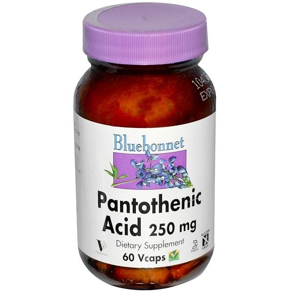 Bluebonnet Nutrition, Пантотеновая кислота, 250 мг, 60 растительных капсул (Discontinued Item)