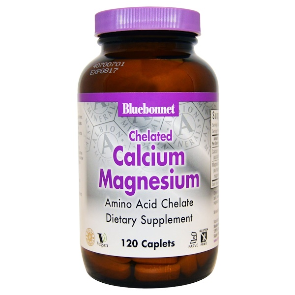 Bluebonnet Nutrition, Хелатный кальций и магний, 120 таблеток