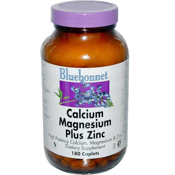 Bluebonnet Nutrition, Кальций-магний с цинком, 180 капсуловидных таблеток