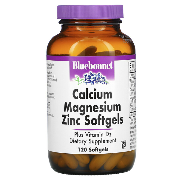 кальций, магний, цинк, 120 мягких желатиновых капсул