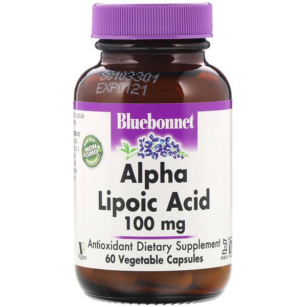 Bluebonnet Nutrition, Альфа-липоевая кислота, 100 мг, 60 капсул в растительной оболочке (Discontinued Item)