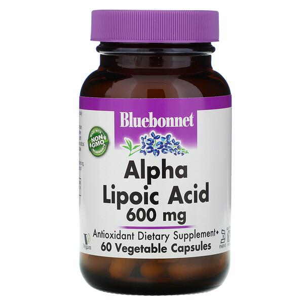 Bluebonnet Nutrition, Альфа-липоевая кислота, 600 мг, 60 растительных капсул