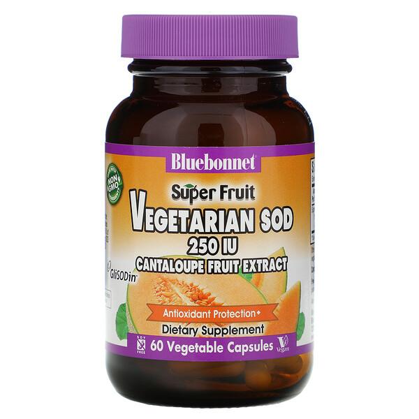 Super Fruit, Vegetarian SOD, экстракт плодов канталупы, 250 МЕ, 60 растительных капсул