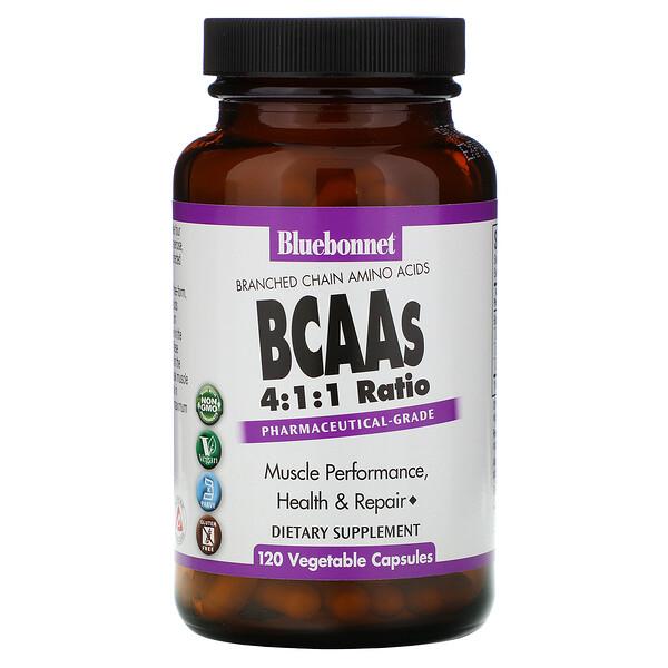 BCAAs 4:1:1 Ratio, 120 Vegetable Capsules