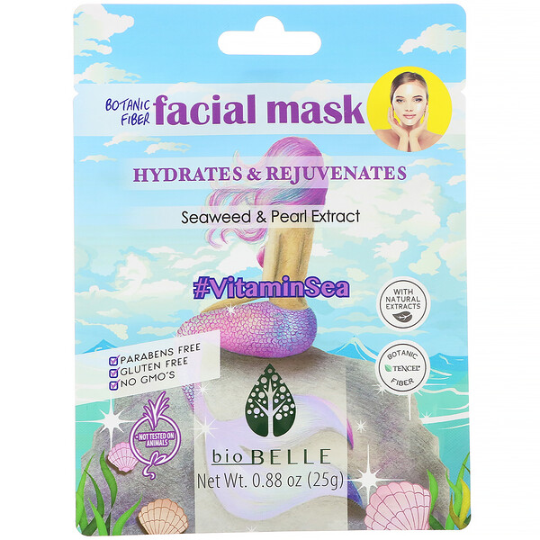 Botanic Fiber Facial Mask, Hydrates & Rejuvenates, #VitaminSea, 1 Sheet, 0.88 oz (25 g)