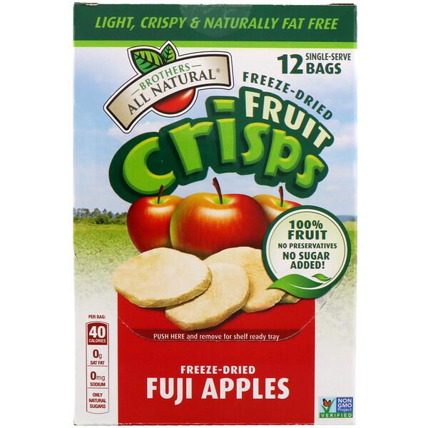 Сублимированные - фруктовые чипсы, яблоки фуджи, 12 пакетиков на 1 порцию, 120 г