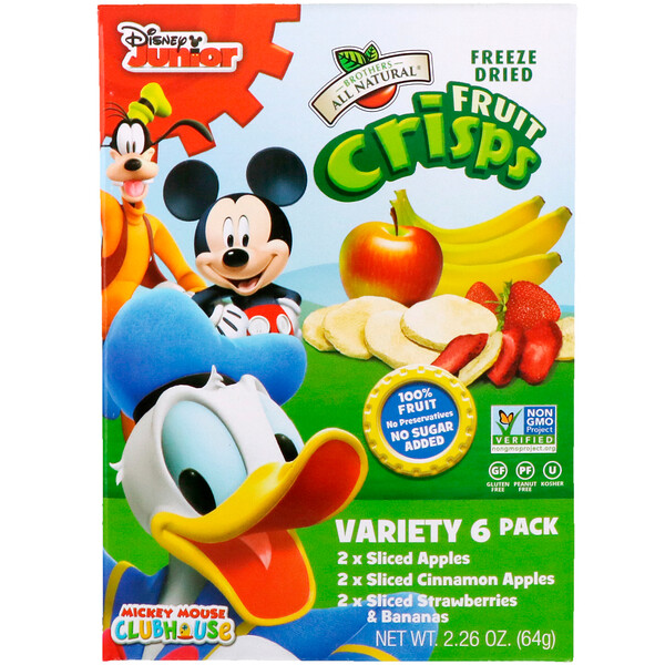 Disney, Fruit-Crisps Variety Pack, Fuji Apple, Apple Cinnamon, Strawberry and Banana,  6 Single Serve Bags, 0.35 oz (10 g) Each