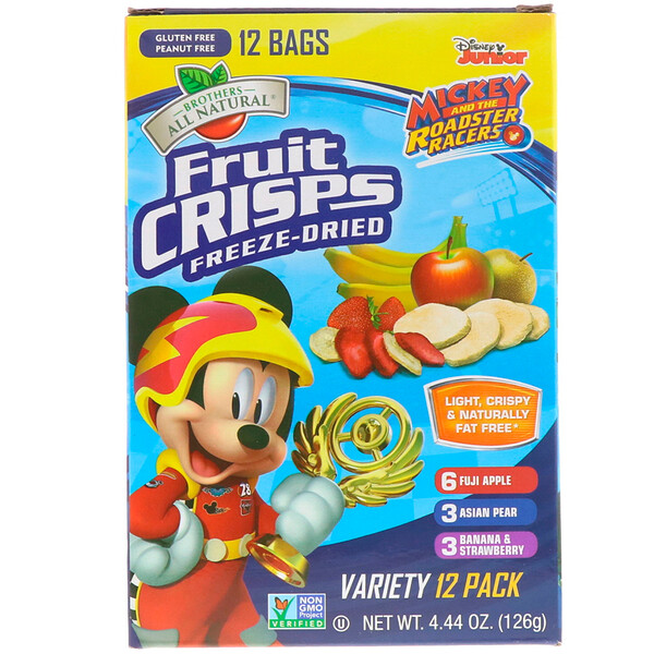 Brothers-All-Natural, Disney Junior, лиофилизированные фруктовые чипсы, ассорти, 12 пакетиков, 126 г (4,44 унции)