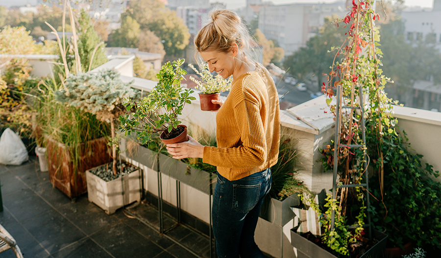 Young woman taking care of her plants outside on a rooftop garden