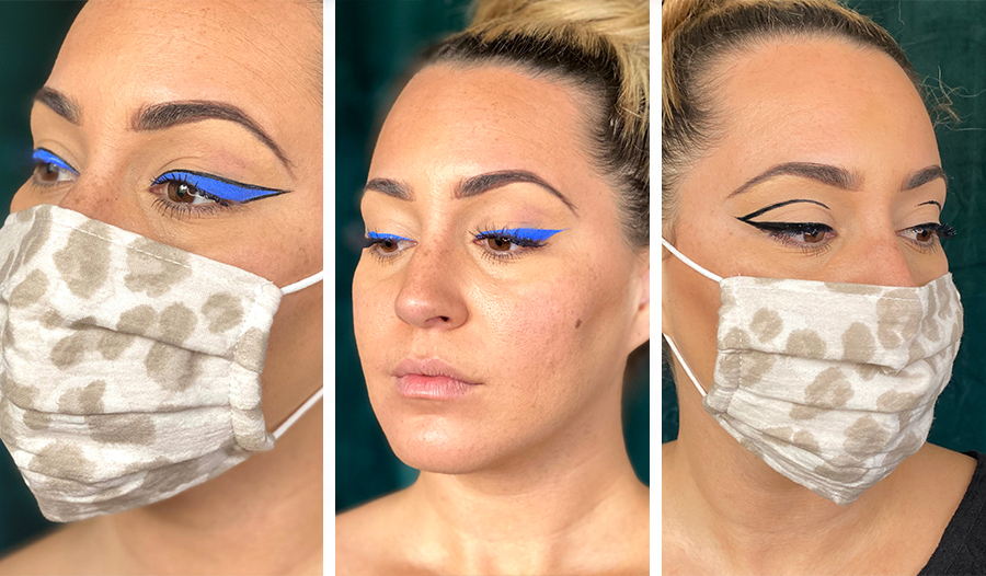 makeup artist kylie hawkins shows off three bold eyeliner looks with her face mask