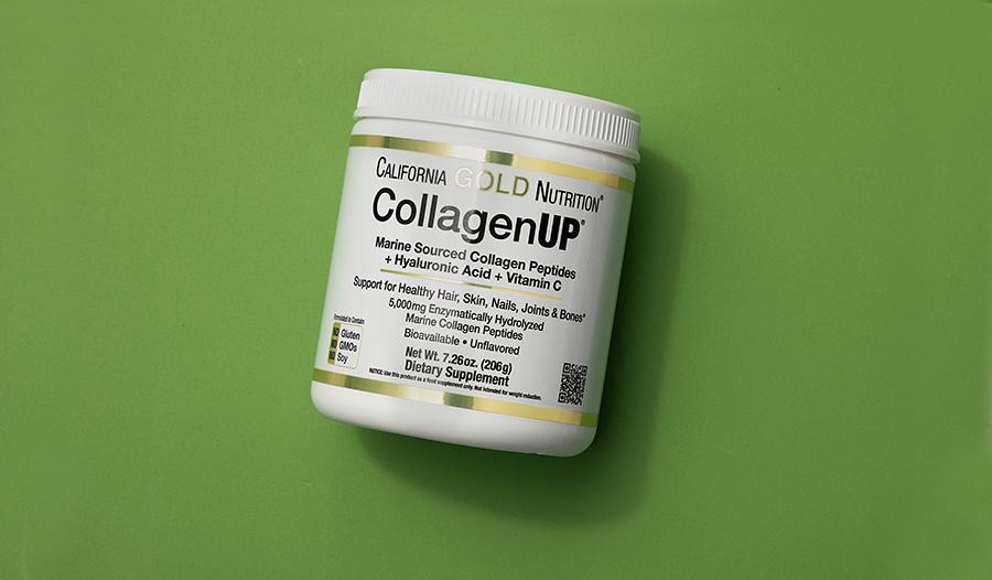 Collagen supplement bottle on green background
