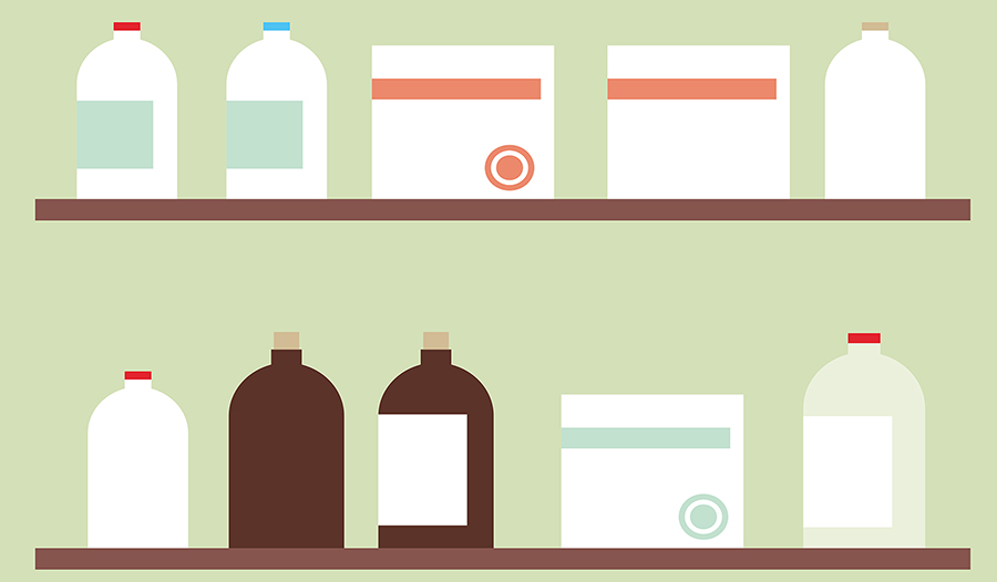 Medicine shelf with supplement bottles and boxes of vitamins