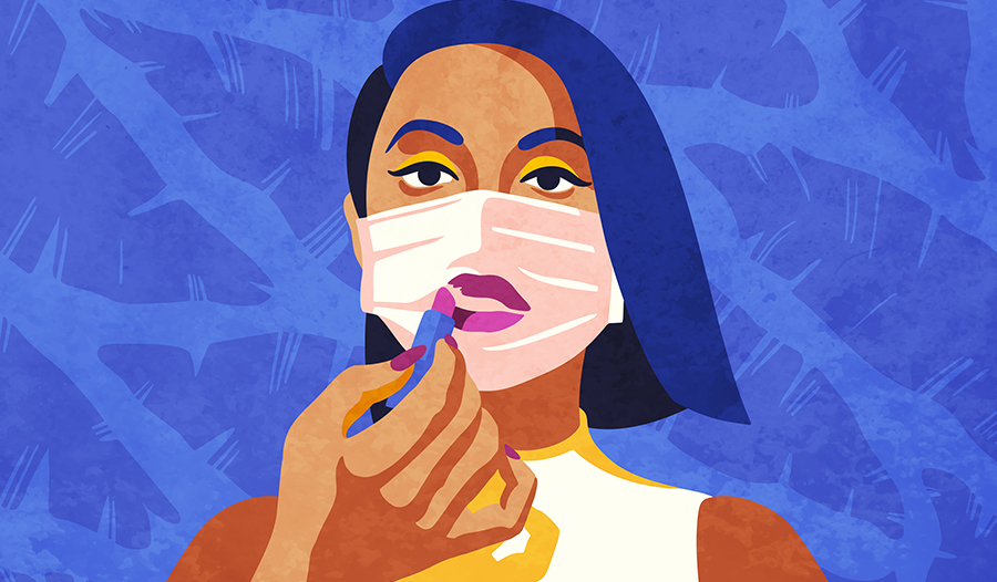 illustration of woman applying makeup with face mask on