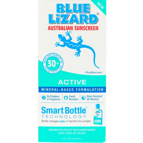 Blue Lizard Australian Sunscreen, Активное средство, солнцезащитный крем с SPF 30+, 5 ж. унц. (148 мл) (Discontinued Item)
