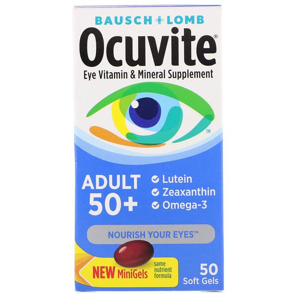 Ocuvite, для взрослых старше 50лет, витаминная и минеральная добавка для глаз, 50мягких таблеток