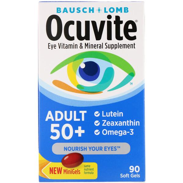 Ocuvite, для людей старше 50 лет, добавка с витаминами и минералами для здоровья глаз, 90 мягких таблеток