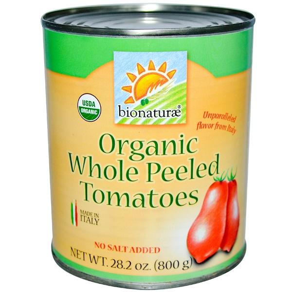 Bionaturae, Органические цельные очищенные томаты, без соли, 28,2 унции (800 г) (Discontinued Item)