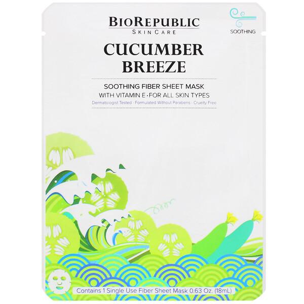 Cucumber Breeze, Soothing Fiber Sheet Mask, 1 Sheet, 0.63 oz (18 ml)