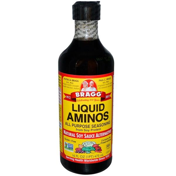 Bragg, Жидкие аминокислоты, природная альтернатива соевому соусу, 16 жидких унций (473 мл) (Discontinued Item)