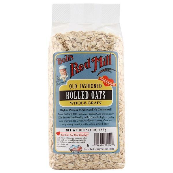 Bob's Red Mill, Плющенный геркулес по старинной технологии, цельное зерно, 16 унций (453 г) (Discontinued Item)