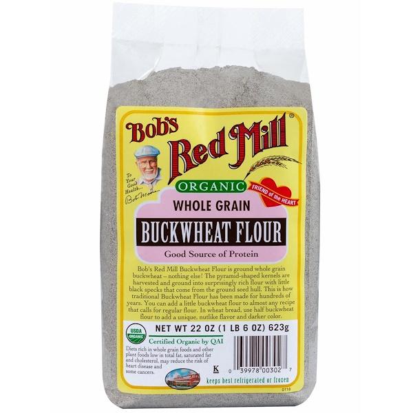 Bob's Red Mill, Organic Buckwheat Flour, Whole Grain, 22 oz (623 g) (Discontinued Item)