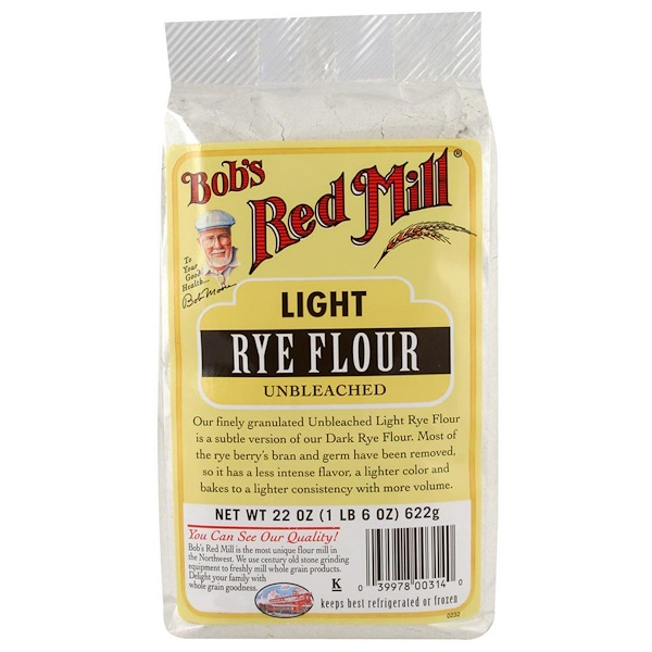 Bob's Red Mill, Light Rye Flour, Unbleached , 22 oz (622 g) (Discontinued Item)
