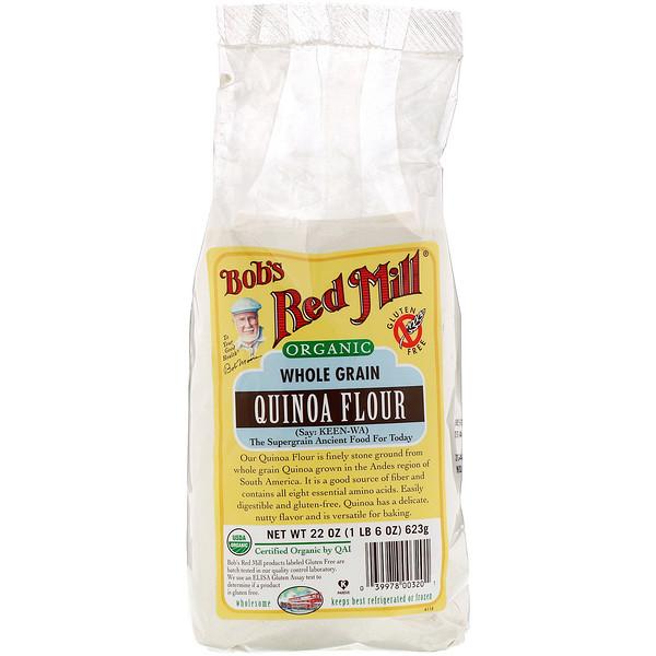 Bob's Red Mill, Organic Quinoa Flour, Whole Grain, 22 oz (623 g) (Discontinued Item)