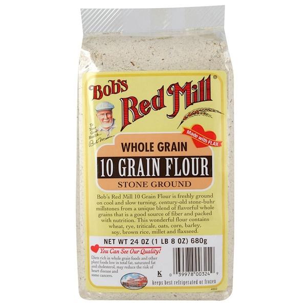 Bob's Red Mill, Цельнозерновая мука, 10 злаков, 24 унции (680 г) (Discontinued Item)