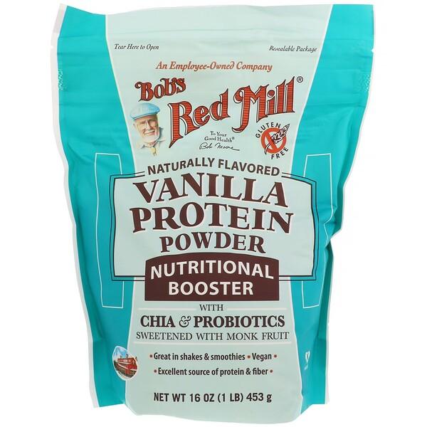 Bob's Red Mill, Ванильный протеиновый порошок, питательный состав с чиа и пробиотиками, 453 г (16 унций)