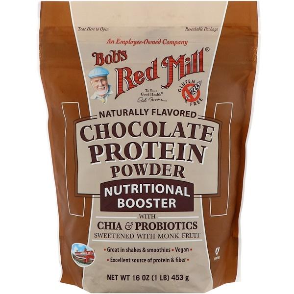 Bob's Red Mill, Шоколадный протеиновый порошок, питательный комплекс с чиа и пробиотиками, 453 г (16 унций)