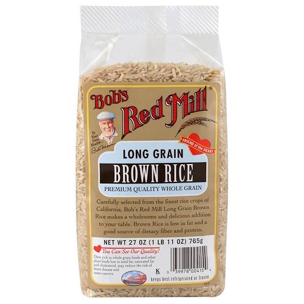 Bob's Red Mill, Длиннозерный коричневый рис, 27 унций (765 г) (Discontinued Item)