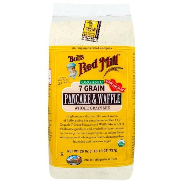 Bob's Red Mill, Organic 7 Grain Pancake & Waffle Mix, Whole Grain, 26 oz (737 g) (Discontinued Item)