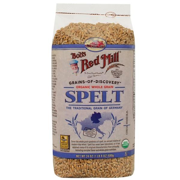 Bob's Red Mill, Organic Spelt, Whole Grain, 24 oz (680 g) (Discontinued Item)