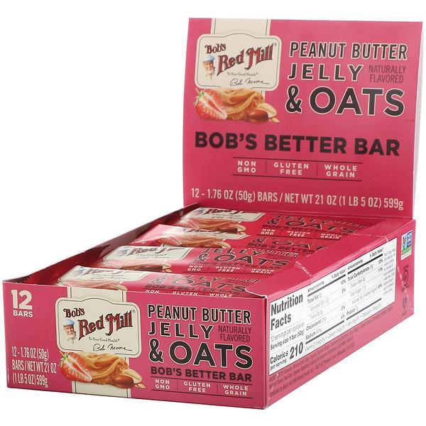 Bob's Better Bar, Peanut Butter Jelly & Oats, 12 Bars, 1.76 oz (50 g) Each