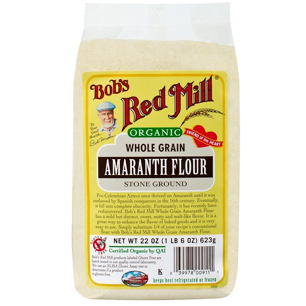 Bob's Red Mill, Organic Amaranth Flour, Whole Grain, 22 oz (623 g) (Discontinued Item)