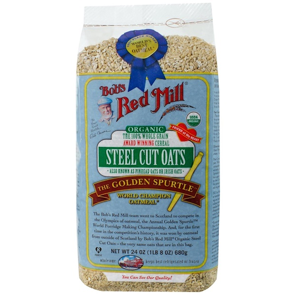 Bob's Red Mill, Organic Steel Cut Oats, Whole Grain, 24 oz (680 g) (Discontinued Item)