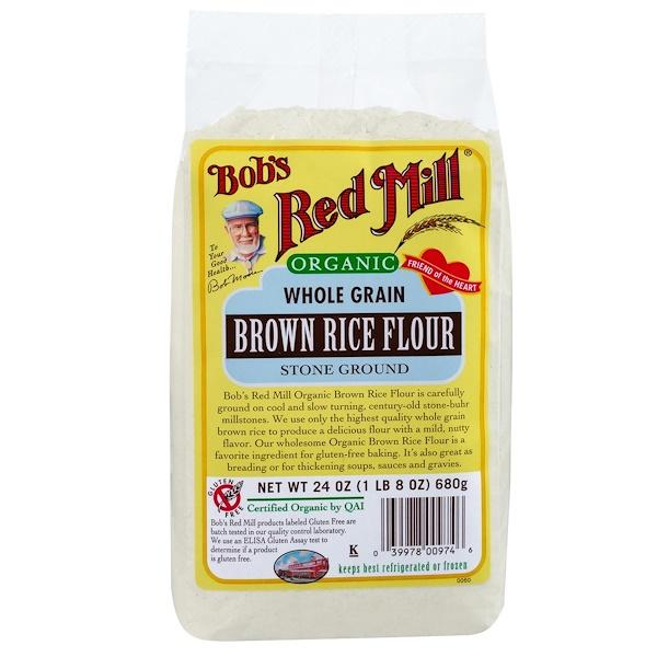 Bob's Red Mill, Organic Brown Rice Flour, Whole Grain, 24 oz (680 g) (Discontinued Item)