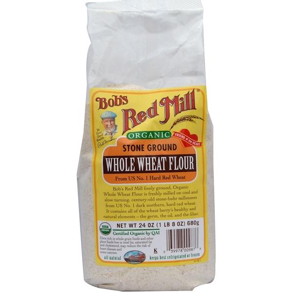 Bob's Red Mill, Organic Whole Wheat Flour, 24 oz (680 g) (Discontinued Item)
